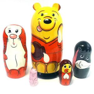 Winnie The Pooh Matryoshka Wooden Nesting Dolls Movie Characters Disney Toys 5pc