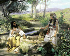 Jesus Christ & Woman At The Well Christian Painting Fine Art Real Canvas Print
