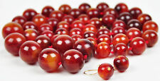 Cherry Butterscotch Swirl Bakelite Graduated Bead Necklace Earrings Demi Parure