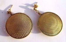 boucles d'oreilles percées pendantes rondes nid d'abeilles couleur or 3234