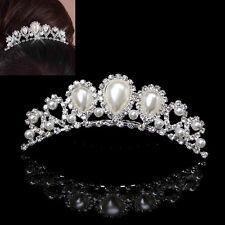 Bridal Rhinestone Wedding Crown Faux Pearl Hair Clip Comb Tiara Jewellery