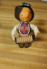 """Anri Casy Boys Ges Gesch Vtg Wooden Figure Tyrolean Accordion Rope Arms 8"""" High"""