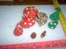 Set of fairy garden mushrooms. hand made, clay