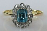 Vintage 18ct gold cushion cut blue zircon 8 cut diamond cluster ring size O 1/2