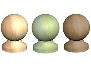 """Round Wooden Post Top Finial Ball For 3"""" 75mm Post Cap Untreated Green Brown"""