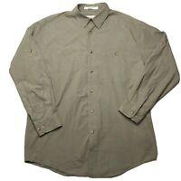 Orvis Men's Button Up  Shirt Long Sleeve Medium Olive Green Cotton
