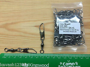 Size 1/0 American Snap Swivels.100lb Breaking Strain.Pack of 24 + Free Gift.
