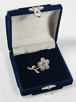 Small Vintage Brooch Silver Tone & Sparkly Diamante Flower Cute Pretty Costume