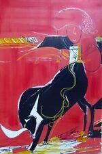 PEINTURE -  ORIGINAL - taureau - Espagne - rouge - arène - torero - feria