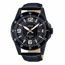 New CASIO 2019 Model MTP-1291BL-1A2 Men's Watch Genuine Leather/ Water Resistant