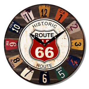 28.8cm Wall Clock Route 66 Round Distressed Man Cave Gift Cafe Shed Garage Home