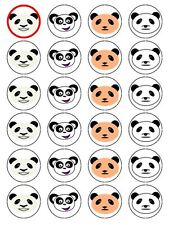X24 CARTOON PANDA FACE CUP CAKE TOPPERS DECORATIONS ON EDIBLE RICE PAPER