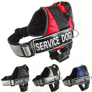 Reflective Adjustable Nylon Service Dog Harness Vest with Handle patch Large Dog