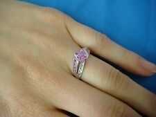 ! CUTE LADIES SMALL PINK STONE AND DIAMONDS LADIES 10K WHITE GOLD RING, SIZE 7.