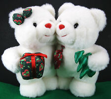 "9"" Ebee Happy Holidays Christmas White Hugging Love Teddy Bears Stuffed Plush"