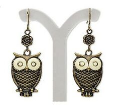 Bronze Owl Earrings Vintage Antiqued Charm Fishhook Jewelry IN GIFT BOX