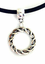 Black Real Leather Cord Choker Charm Necklace Pendant Retro Hippy Tibetan
