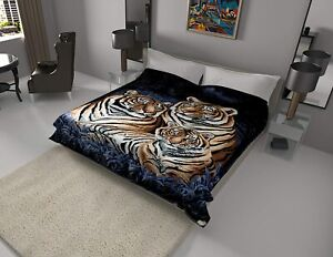 Solaron Original Bengal Tigers Korean Mink Soft Plush Twin Size Blanket Blue