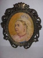 Antique Queen Victoria miniature painting portrait