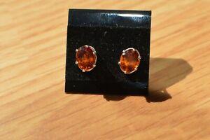 2.60ct Hessonite Mandarin Garnet Solitaire Earrings ~ Fine Sterling Silver
