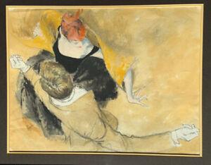 Original signed oil wash w charcoal by famed illustrator Joe Bowler couple dance