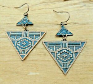 Aztec Ethnic Triangle Antique Style Copper Effect & Turquoise Earrings 4cm NEW