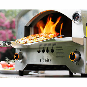 Big Horn 2 Burner Gas Pizza Grill Portable Stainless Steel Propane Steak Beefer
