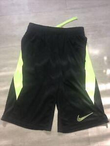 Nike Dri Fit  boys L large black / neon yellow  athletic shorts.