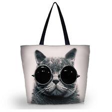 Foldable Tote Women's Shopping Bag Shoulder Carry Bag Handbag Cat With Glasses