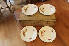 Vintage Set 4 Tea Plates from Brexton Picnic Hamper – Red Flowers – Great!