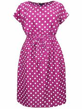 New- Plum Red & White Polka Dots Midi Dress-Day/Tea/Party/Vintage Look-22/24