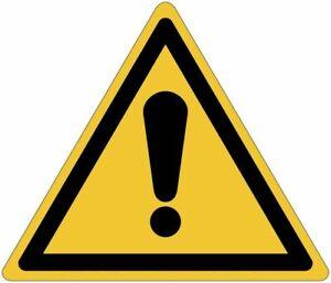 """Cartelli pittogrammi adesivi di pericolo ISO 7010 """"Pericolo generico"""" - W001"""