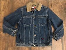 Tommy Hilfiger Vintage American Flag Denim Jean Trucker Jacket Size Large