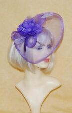 Elegant Purple Veiling & Rose & Feather Fascinator on Head Band
