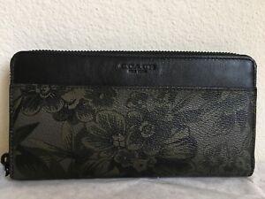 Coach Floral Hawaiian Print Coated Canvas Accordion Zip Around Wallet F59470