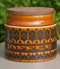 HORNSEA ENGLAND BROWN HEIRLOOM SQUAT COFFEE CANNISTER w/ ORIGINAL LID jh IN USA