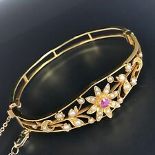 "Victorian 14K Yellow Gold Ruby Seed Pearl Hinged Bangle Bracelet 6.5"" 14K Chain"