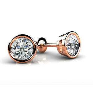 Solid 10k Rose Gold 1.26 ct D VVS1 Round Cut Stud Earrings