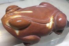 "Vintage Mookite Jasper carved Frog/ Toad Statue 5"" #154"