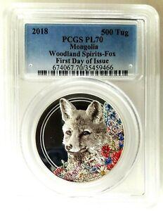2018 Mongolia Woodland Spirits Fox 1oz .999 Silver Coin PCGSPL70- FDOI-500 Tug