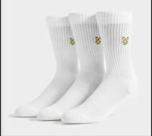 Lyle & Scott 3 Pairs Mens Hamilton Sport Socks UK 7-11 White 40% Discount!!
