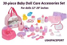 Kids 30pc Baby DOLL CARE SET Potty Chair+Dishes+Diapers+Food+Toys Lot Girls GIFT