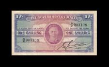 """1943 GOVERNMENT OF MALTA 1 SHILLINGS **RARE** """"A"""" **003106** (( EF ))"""