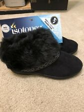 NWT Ladies Isotoner Microsuede Slippers M 7.5-8 Faux Fur Cuff Ribbon Booties