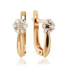 Earrings NEW Gold Rose 14K diamonds Russian fine jewelry USSR style 585 1.89g