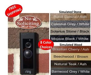 """Elegant """"No Soliciting Thank You"""" Doorbell Sign - 1.5"""" x 3"""" FREE SHIPPING"""