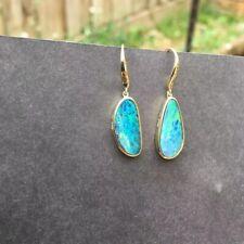 No 0019 Australia Doublet Opal Earrings/Dangler 9K Gold (37.5% Gold)17.6cts