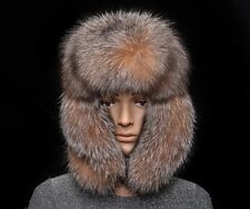 Golden Frost Silver Fox Fur Genuine Leather Handmade Men's Bomber Aviator Hat