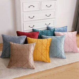 """Chenille Geometric Pleated Cushion Cover Scatter Sofa Pillow Case 17"""" x 17"""""""
