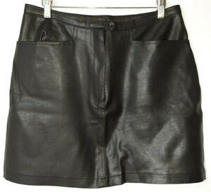 Dorothy Perkins Vintage VTG Faux Leather Black Pockets Short Skirt UK 14 A052
